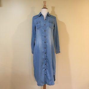 Western Denim Midi Dress